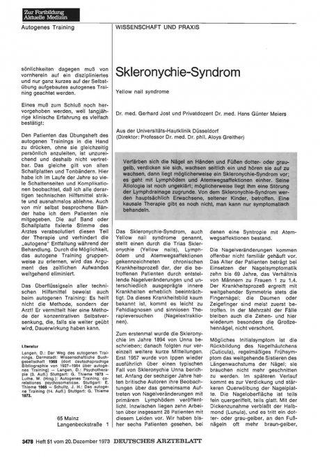 Skleronychie-Syndrom