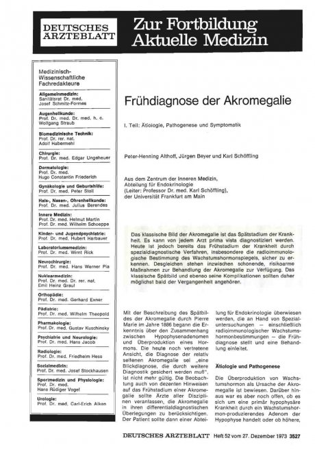 Frühdiagnose der Akromegalie