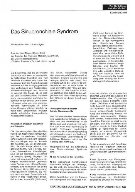 Das Sinubronchiale Syndrom