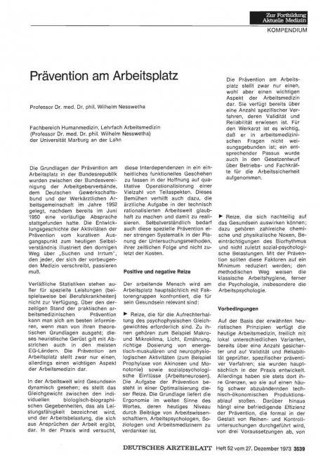 Prävention am Arbeitsplatz