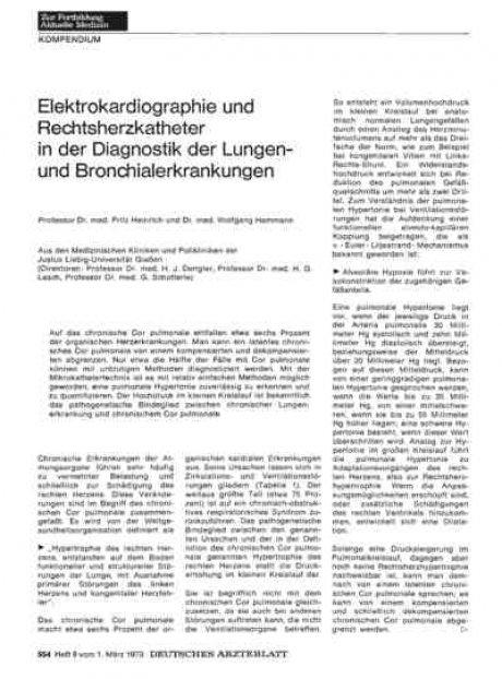 Elektrokardiographie und Rechtsherzkatheter in der...