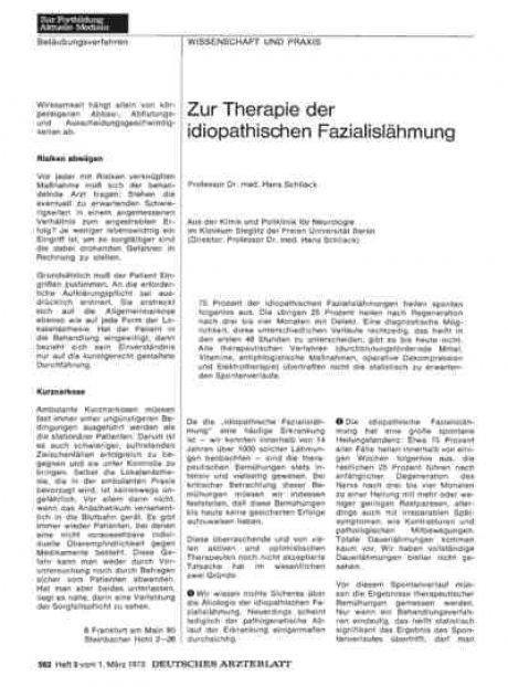 Zur Therapie der idiopathischen Fazialislähmung