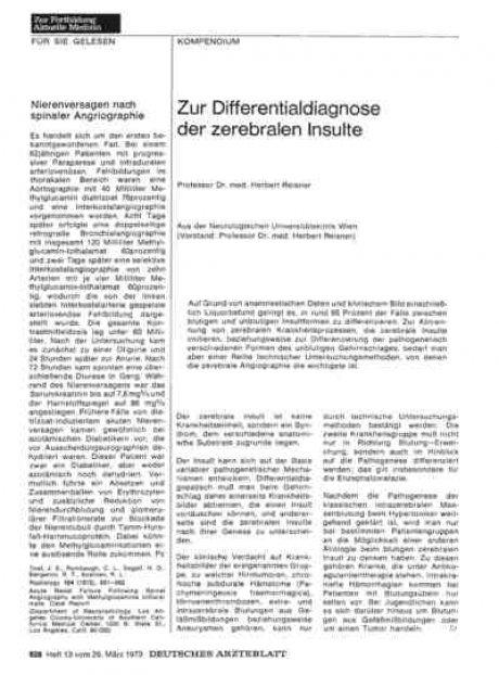 Zur Differentialdiagnose der zerebralen Insulte