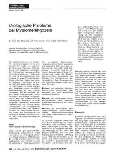 Urologische Probleme bei Myelomeningozele