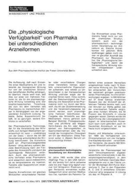 """Die """"physiologische Verfügbarkeit"""" von Pharmaka..."""