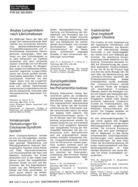 Zurückgebildete Aneurysmen bei Periarteriitis...