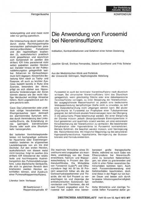 Die Anwendung von Furosemid bei Niereninsuffizienz