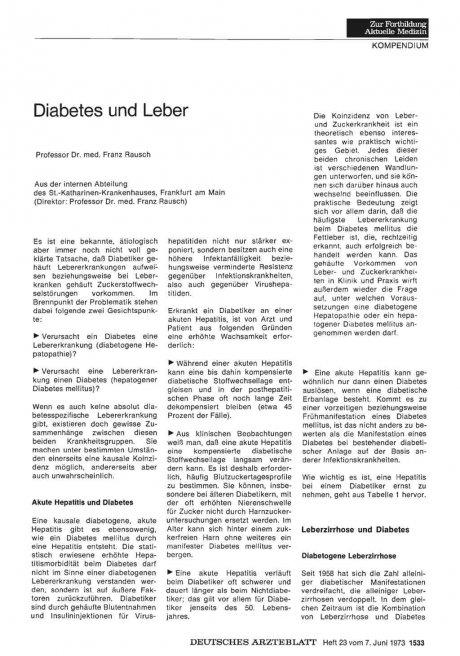 Diabetes und Leber