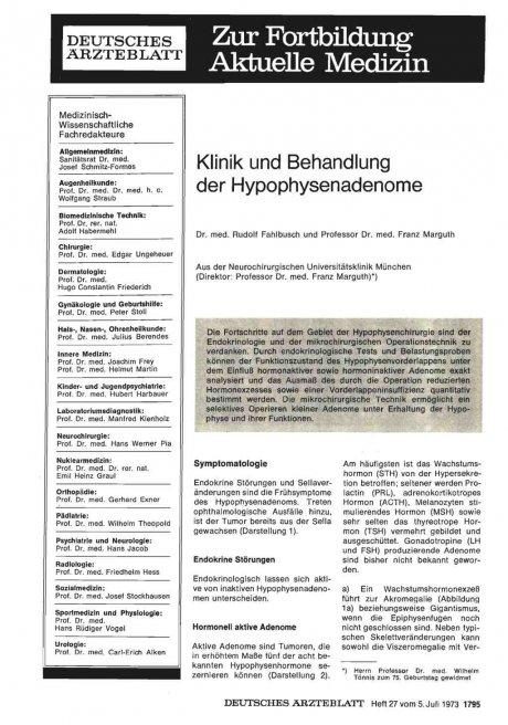Klinik und Behandlung der Hypophysenadenome