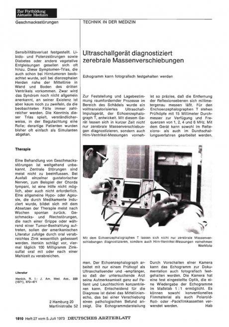 Ultraschallgerät diagnostiziert zerebrale...