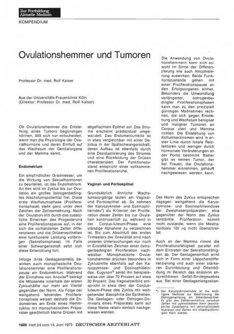 Ovulationshemmer und Tumoren