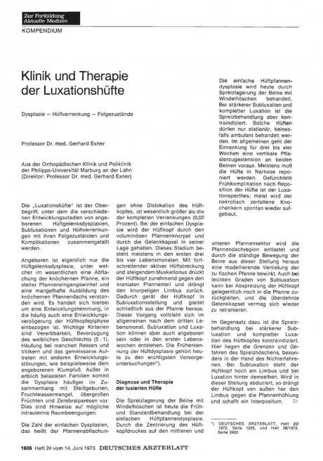 Klinik und Therapie der Luxationshüfte