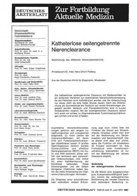 Katheterlose seitengetrennte Nierenclearance