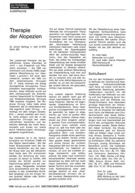 Alopezie : Therapie der Alopezien
