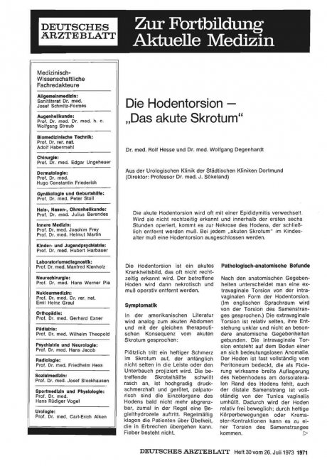 "Die Hodentorsion - ""Das akute Skrotum"""