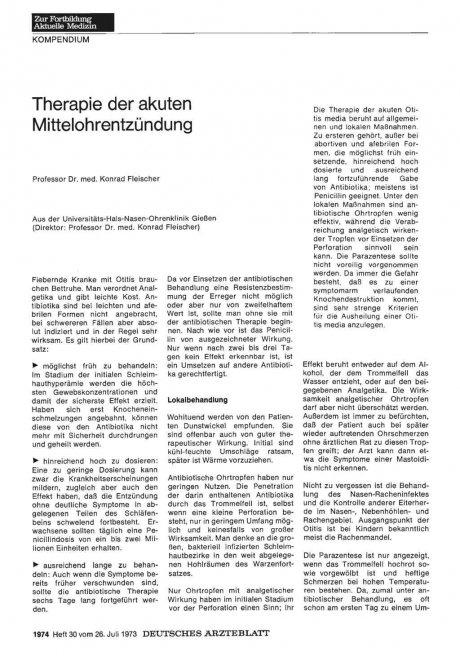 Therapie der akuten Mittelohrentzündung