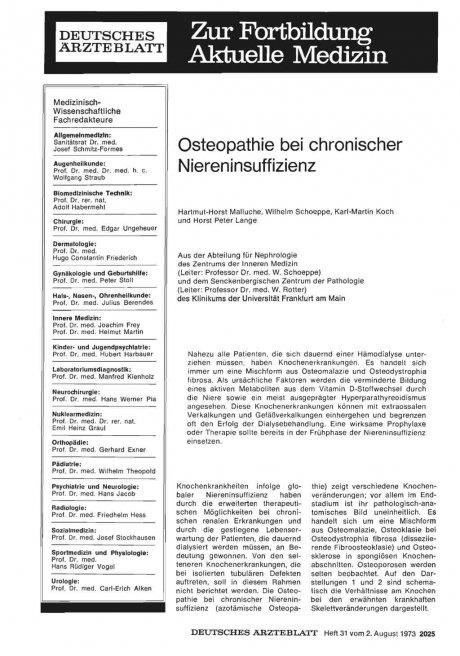 Osteopathie bei chronischer Niereninsuffizienz