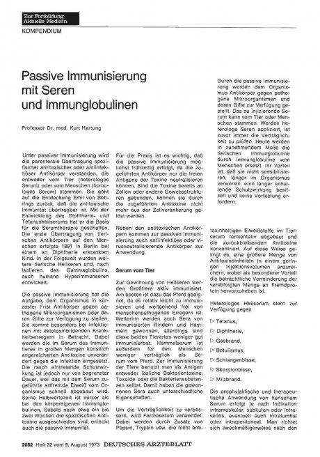 Passive Immunisierung mit Seren und...