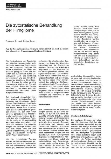 Die zytostatische Behandlung der Hirngliome