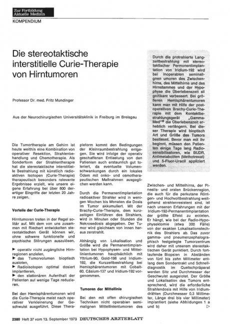 Die stereotaktische interstitielle Curie-Therapie...