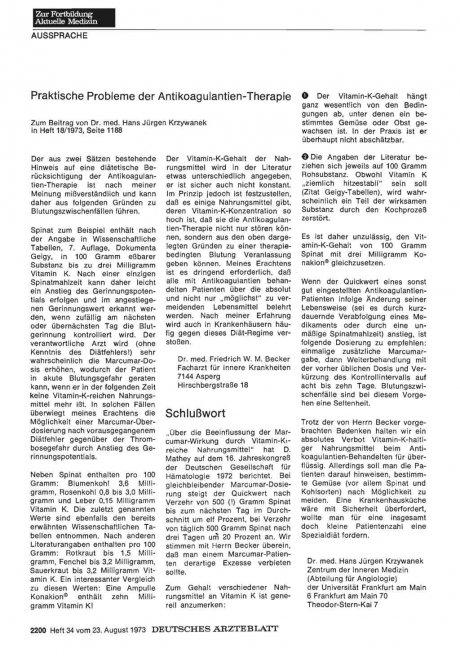 Praktische Probleme der Antikoagulantien-Therapie