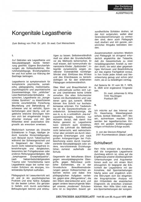 Kongenitale Legasthenie : I.