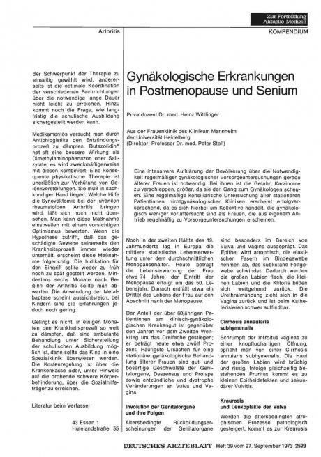 Gynäkologische Erkrankungen in Postmenopause und...