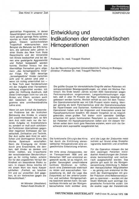 Entwicklung und Indikationen der stereotaktischen...