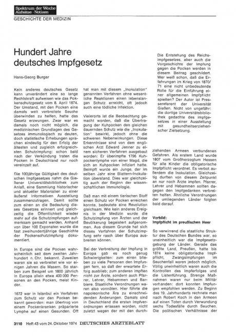 Hundert Jahre deutsches Impfgesetz