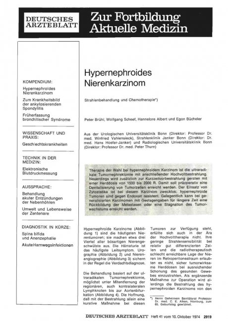 Hypernephroides Nierenkarzinom