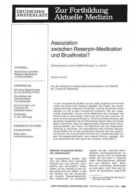 Assoziation zwischen Reserpin-Medikation und...