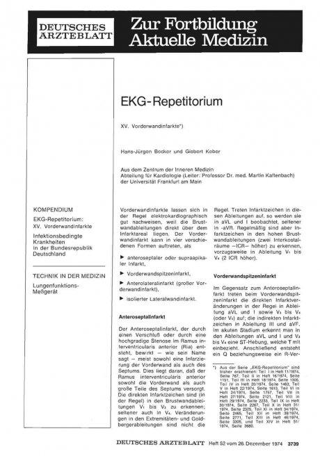 EKG- Repetitorium: XV. Vorderwandinfarkte