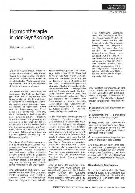 Hormontherapie in der Gynäkologie
