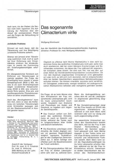 Das sogenannte Climacterium virile