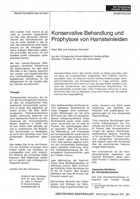 Konservative Behandlung und Prophylaxe von Harnsteinleiden