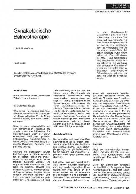Gynäkologische Balneotherapie
