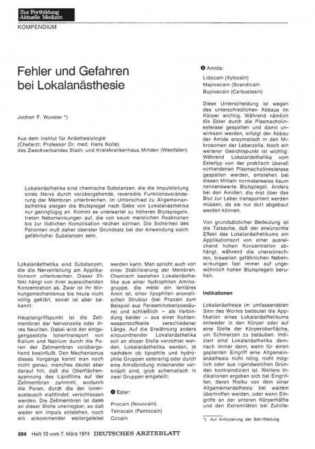 Fehler und Gefahren bei Lokalanästhesie