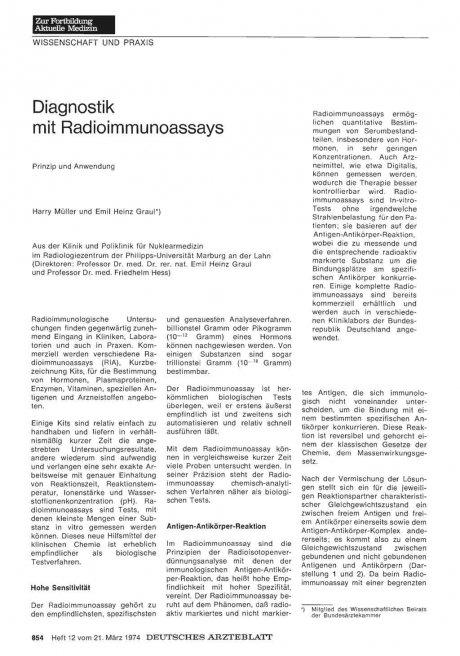 Diagnostik mit Radioimmunoassays