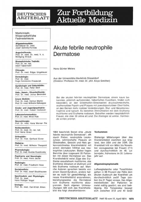 Akute febrile neutrophile Dermatose