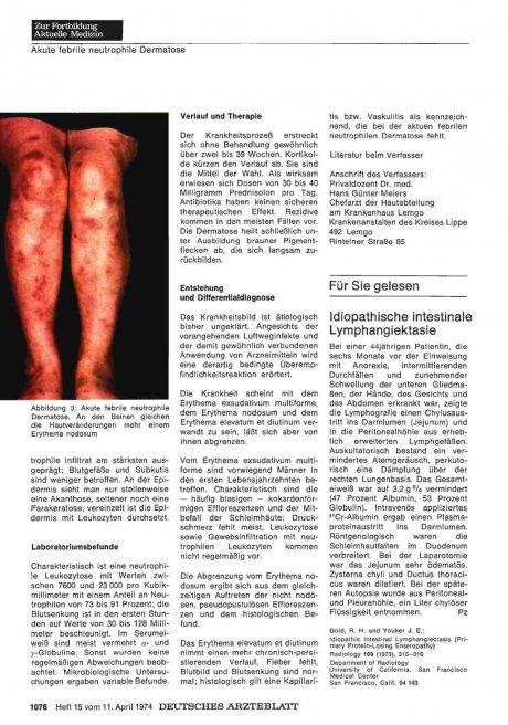 Idiopathische intestinale Lymphangiektasie