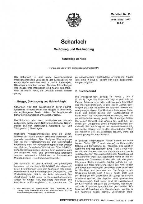 Scharlach: Verhütung und Bekämpfung