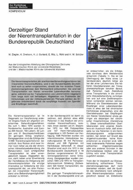 Derzeitiger Stand der Nierentransplantation in der Bundesrepublik Deutschland