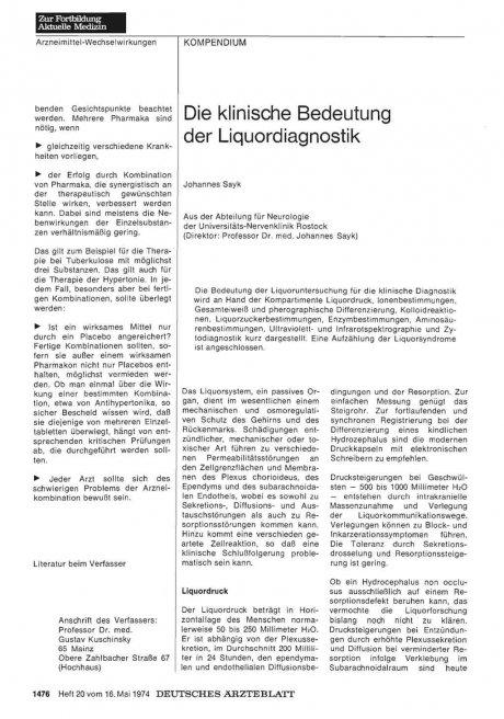 Die klinische Bedeutung der Liquordiagnostik