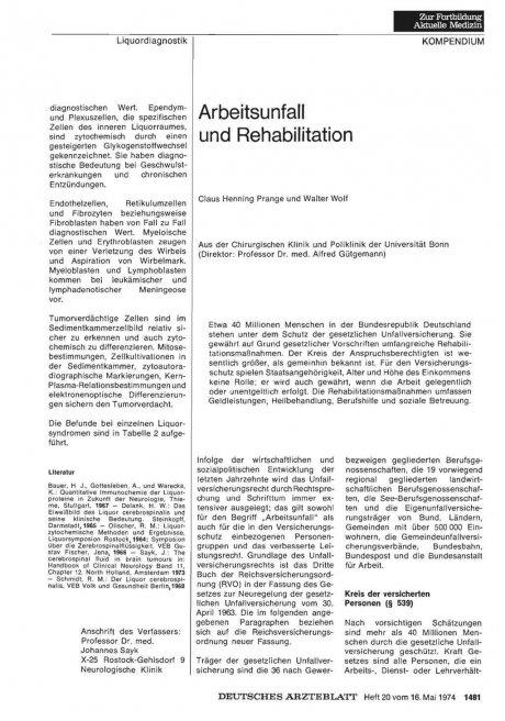 Arbeitsunfall und Rehabilitation