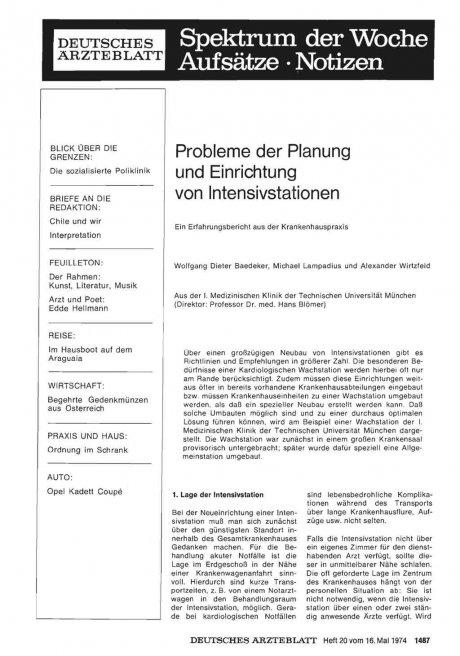 Probleme der Planung und Einrichtung von...