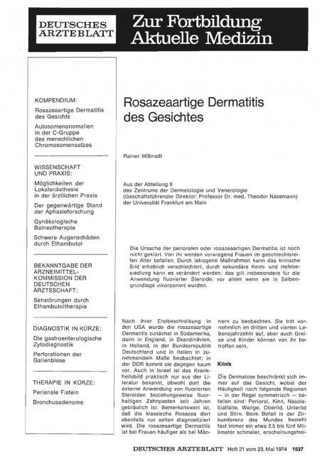 Rosazeaartige Dermatitis des Gesichtes