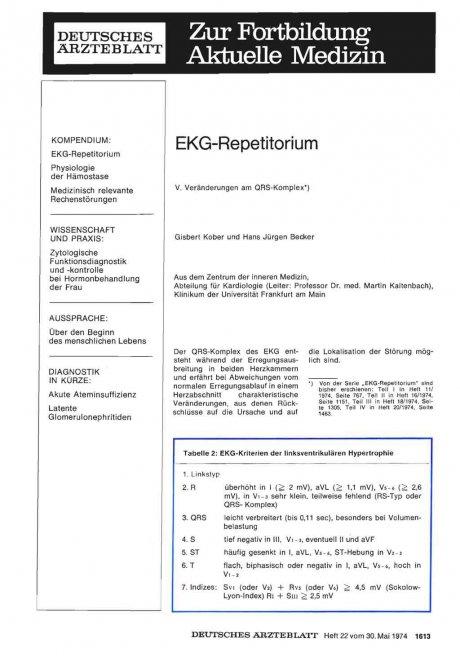 EKG-Repetitorium: V. Veränderungen am QRS-Komplex