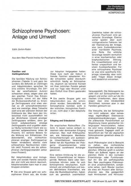 Schizophrene Psychosen: Anlage und Umwelt