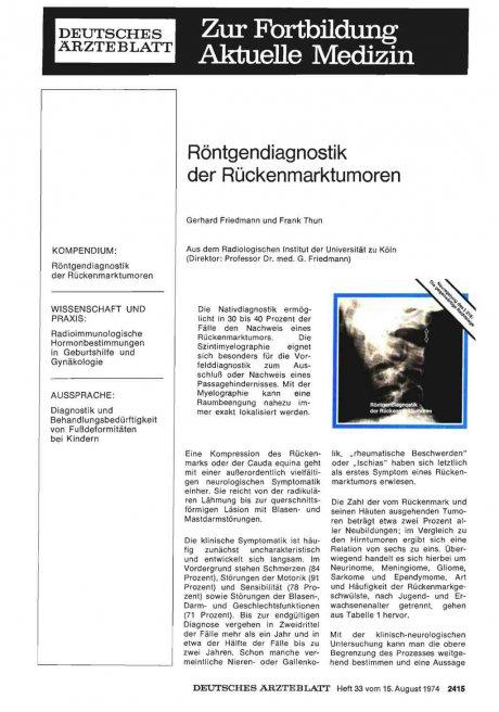Röntgendiagnostik der Rückenmarktumoren