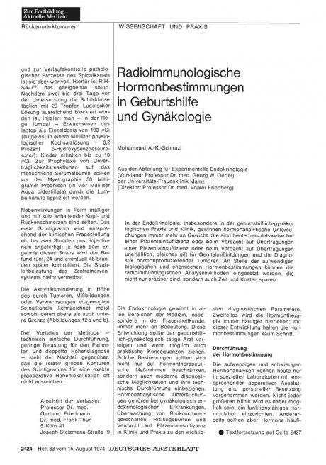 Radioimmunologische Hormonbestimmungen in...